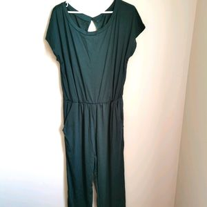 Women's Emerald Green Off Shoulder Long Jumpsuit
